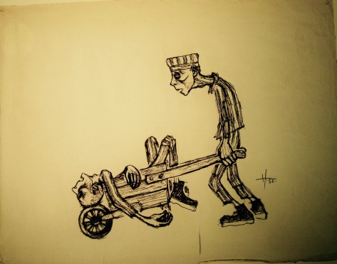 An old sketch by one of the prisoner showing how at midday an entire chain of destroyed individuals returned lying unconscious on wheelbarrows. they were the ones that broke down from hunger, agony & cold.