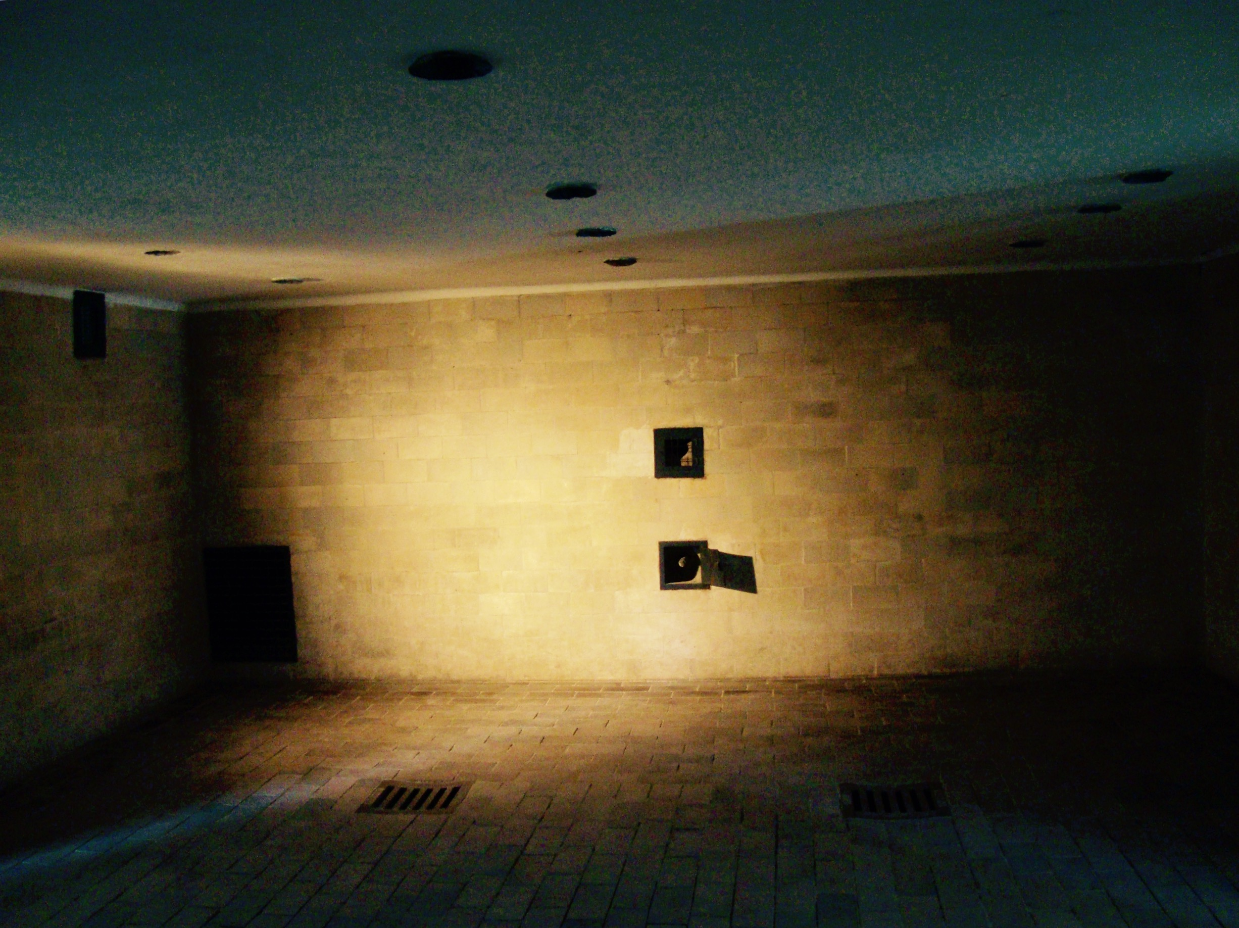 The gas chamber used to murder individual prisoners & small groups using poison gas.