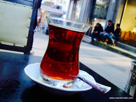 A cup of hot turkish tea