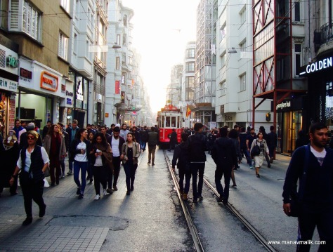 View of  Istiklal Caddesi during the day