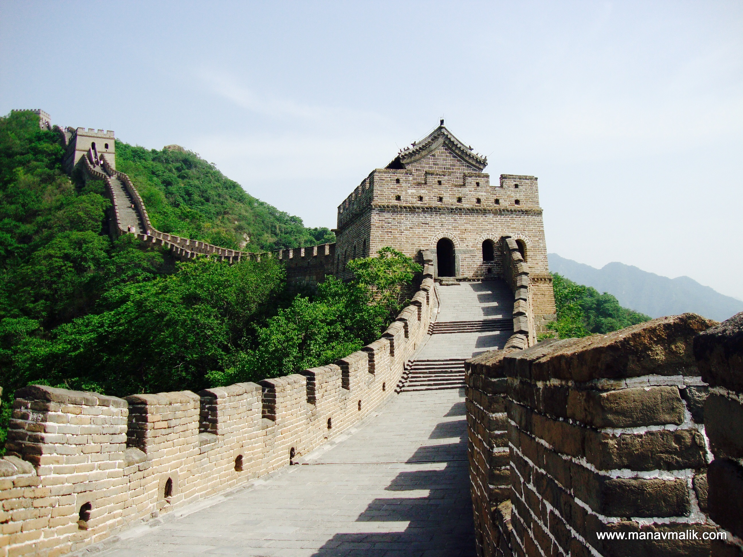 View of the wall with watch towers